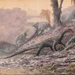 an artist rendering of teleocrater, an early dinosaur relative