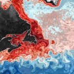 red and blue swirls on map