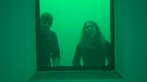 researchers watch through a pool window