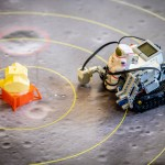 robot with lunar lander