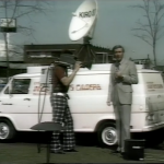 A screen shot from a KIRO-TV news story among those given to UW Libraries recently. The entire donation included local news footage from 1975 to about 2001. The cameraman's pants seem to indicate this footage is from the 1970s.
