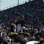 Crowds of students at commencement