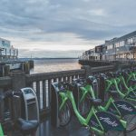 Docked Pronto bikes along Seattle's waterfront