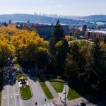 aerial view of campus with Seattle in background