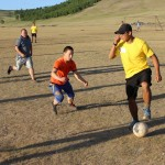 Building relationships with the monks at the Amarbayasgalant Monastery by playing a friendly game of soccer, USA vs Mongolia. We blamed home team advantage.