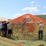 Building a ger, the traditional housing for nomadic families.  It took us two hours.