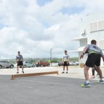 Barbados Defense Force Marines teaching us how to play Road Tennis.