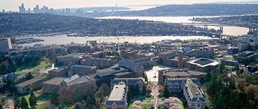 UW campus aerial shot with Seattle landscape