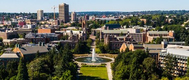 aerial view of UW campus, with Drumheller Fountain in center