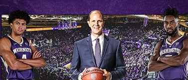 Graphic featuring UW basketball coach Mike Hopkins, player Matisse Thybulle and player Jaylen Nowell