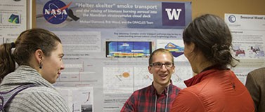 Poster sessions and informal discussions are part of the Program on Climate Change's annual graduate climate conference, shown here, and its summer institute.Jennifer Hsiao/University of Washington