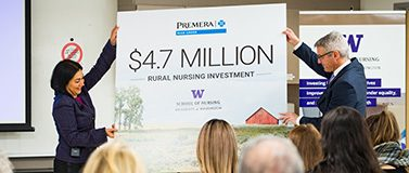 Premera Blue Cross announces a multimillion dollar grant for rural nursing to the UW School of Nursing in 2020.