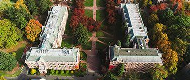 Aerial view of the campus Quad