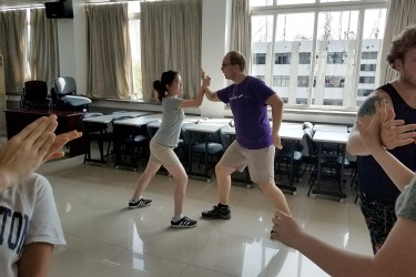 Practicing tai chi at Sichuan University in Chengdu, China