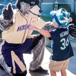 Harry the Husky with a young fan