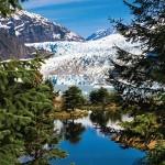 Mendenhall Glacier is a glacier about 13.6 miles long located in Mendenhall Valley, about 12 miles from downtown Juneau, Alaska