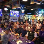 Los Angeles Husky fans at a viewing party for the Stanford game