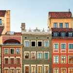 Colorful townhouses in Old Town, Warsaw.