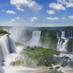 Iguazú Falls or Iguaçu Falls are waterfalls of the Iguazu River on the border of the Argentine province of Misiones and the Brazilian state of Paraná. Together, they make up the largest waterfall system in the world.