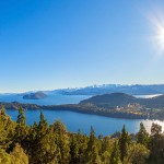 Bariloche, in Argentina's Patagonia region. It borders Nahuel Huapi, a large glacial lake surrounded by the Andes Mountains.