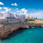 Polignano a Mare is a town on Italy's southern Adriatic coast, known for white-pebble beaches