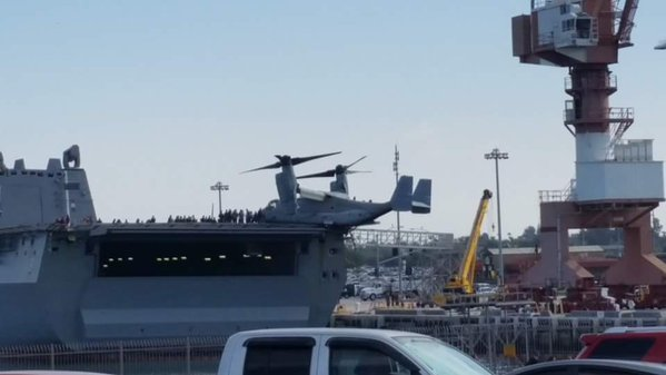 A V-22 dangling off the deck of USS New Orleans. Photo via Ian Keddie