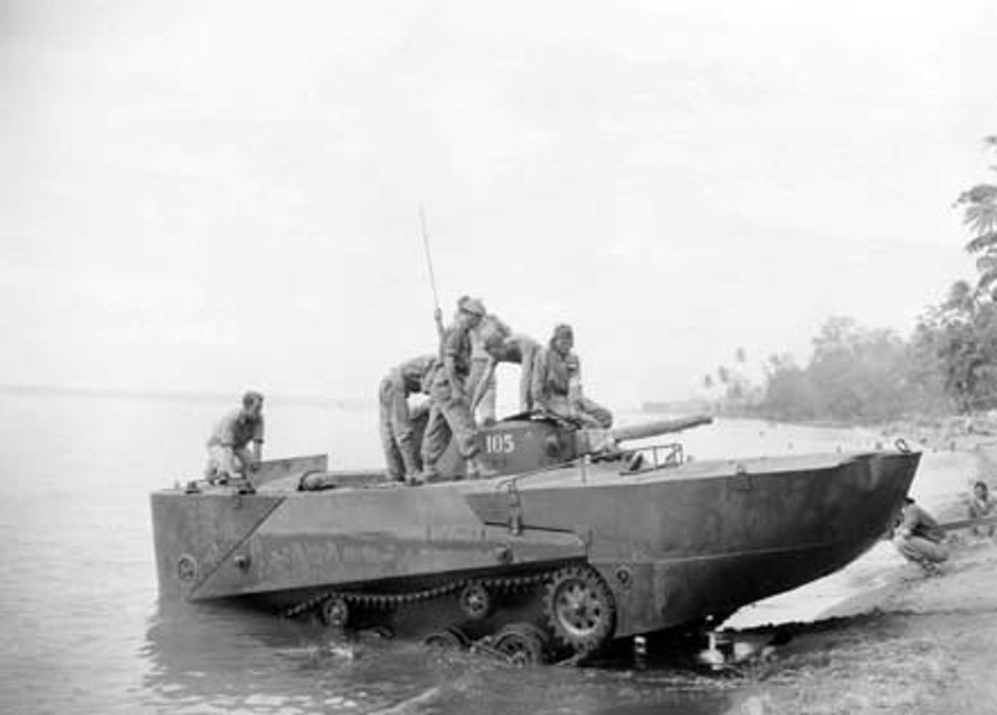 Australian troops test a captured Ka-Mi amphibious tank. Australian War Memorial photo