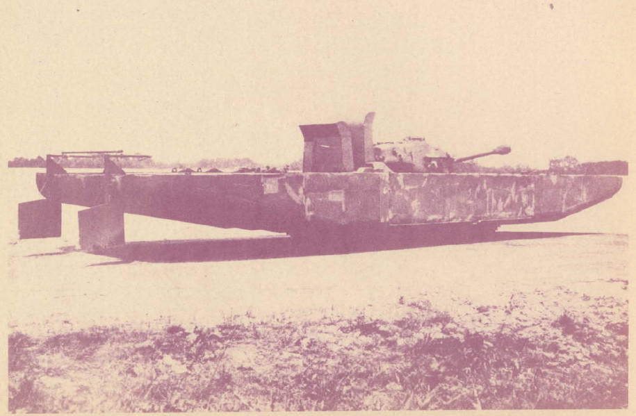 An M-26 tank with the T-8 pontoons. Army photo