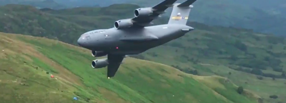Watch a C-17 Airlifter Thread the Mach Loop