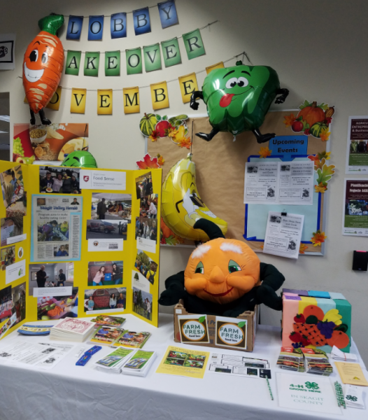 A table display with posters, pamphlets, and brochures on a table with a smiling plush orange and fruit and vegetable helium balloons pinned to the wall.