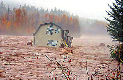 Yes, that's a house. It sat on the banks of the Cowlitz River before the river rose over its banks and eroded out the foundation during the November 6-7 atmospheric river