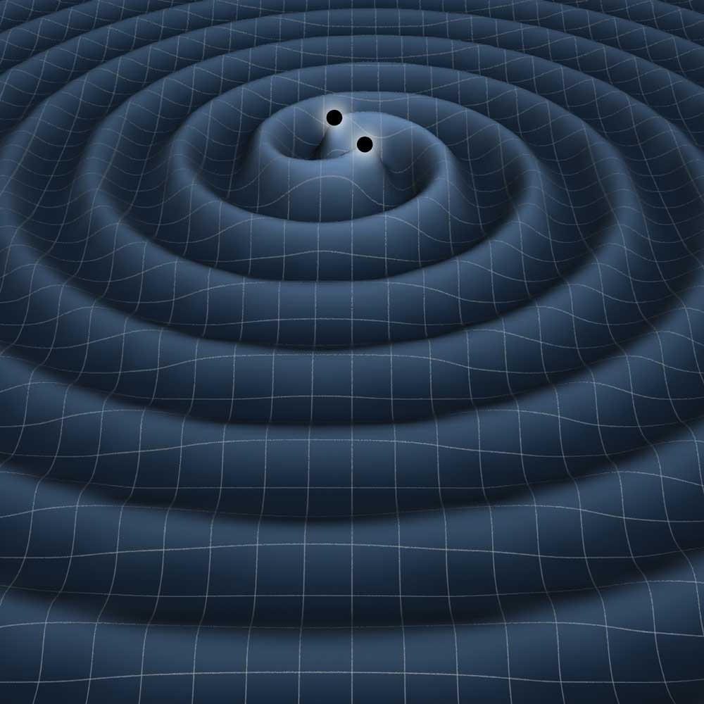 Gravitational waves produced by two black holes orbiting each other Credit: NASA (retrieved from www.space.com)