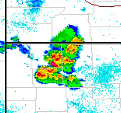 Multicell Cluster Over Northwest Nebraska. Created 14 August 2013. Retrieved from NWS National Radar Mosaic.