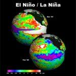 Sea surface heights (SSH) during El Nino (1997) and La Nina (1999). Credit: NASA Jet Propulsion Laboratory (JPL)