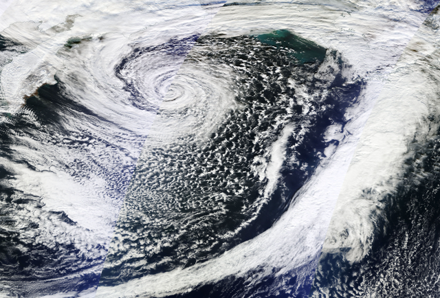 The Bering Sea Cyclone at peak intensity. Image taken from NASA/NOAA Suomi NPP satellite on early November 8,2014