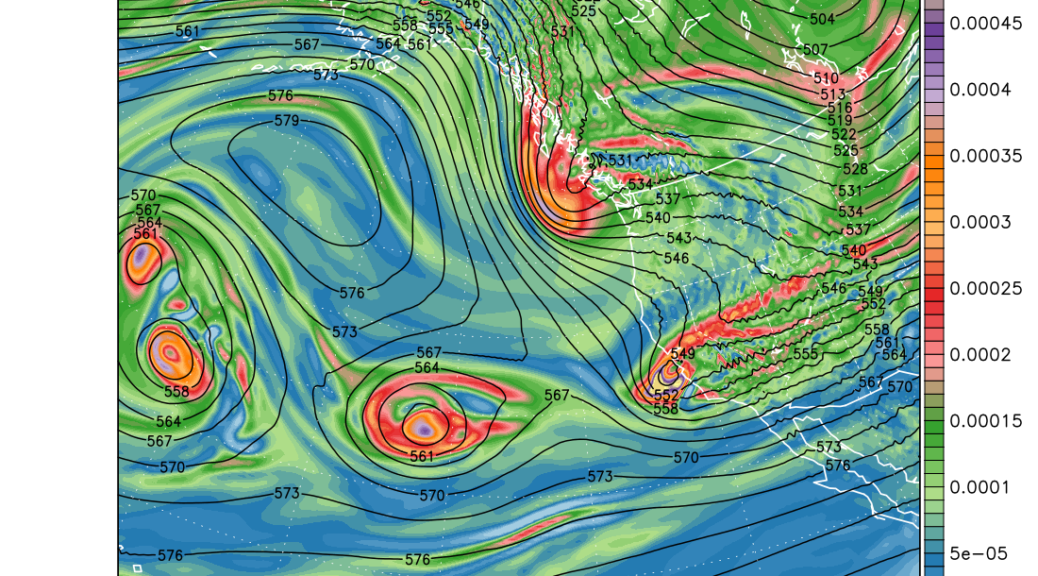 500 hPa heights and absolute vorticity at 10:00 pm PST, Sat 25 Feb 2017 (6hr Fcst)