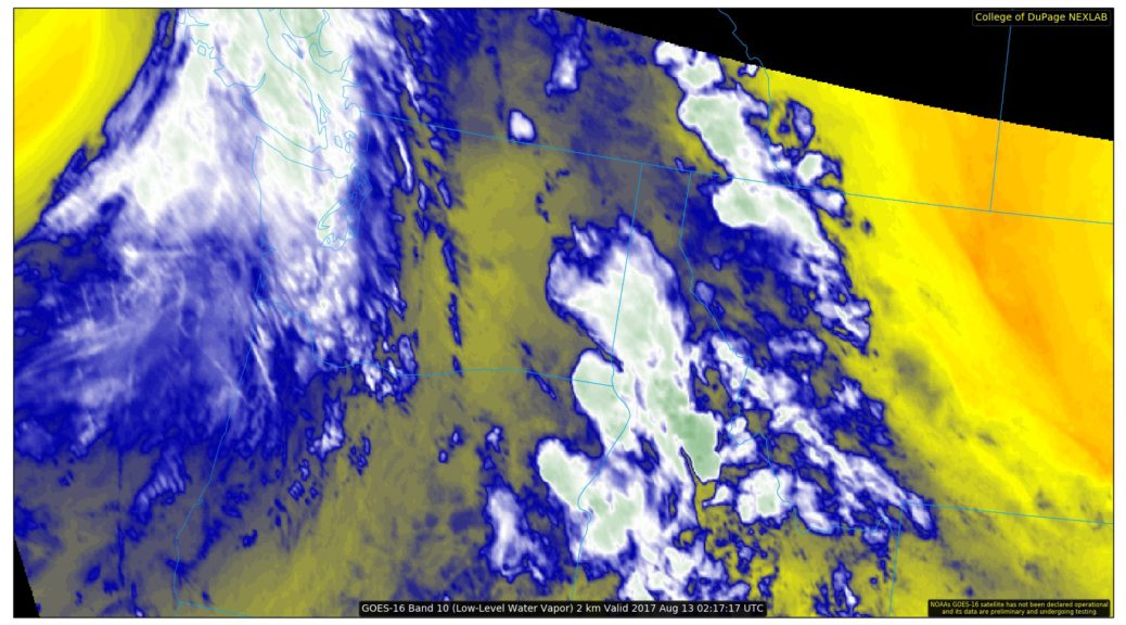 GOES-16 Low-level Water Vapor showing a strong front coming into the Pacific Northwest.