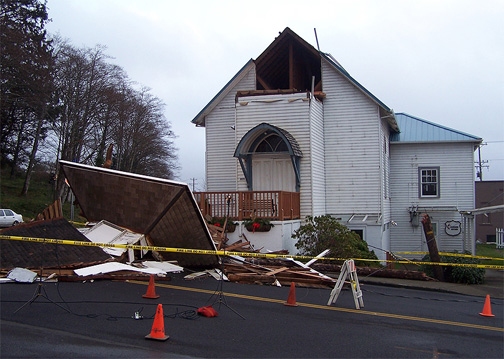A church steeple in Bay City completely destroyed by hurricane-force winds