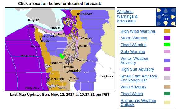 NWS Seattle watches and warnings