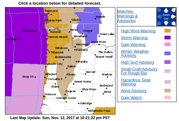 NWS Portland watches and warnings