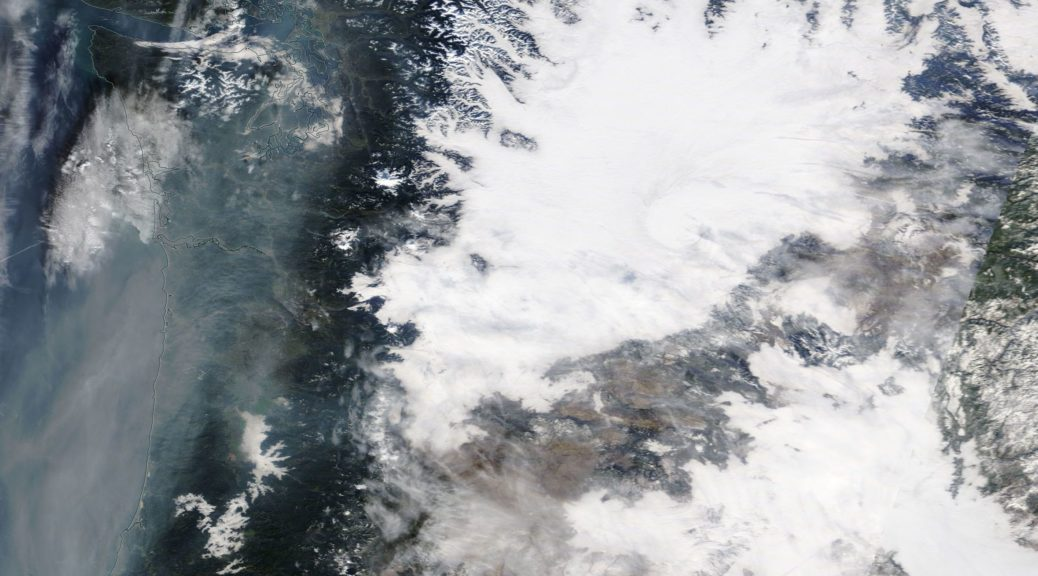 Fog over the Columbia Basin. The smoke off the coast is from the California wildfires due to southerly flow aloft on the western side of McRidge
