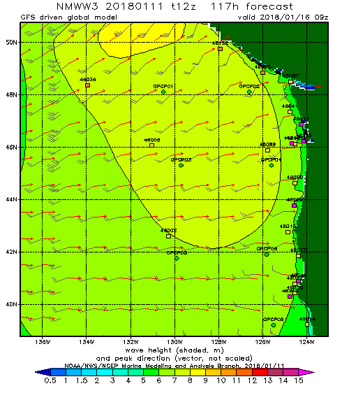 Significant wave heights in meters, wave direction vectors, and 10-meter wind (barbs) at 1 am Tuesday 1/16/2018 from the NOAA Wavewatch 3 model