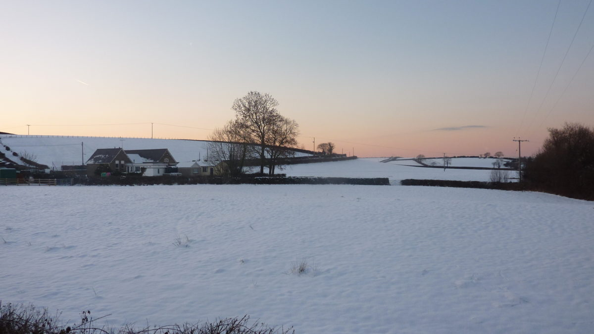 Winter comes a day early to the east coast of England