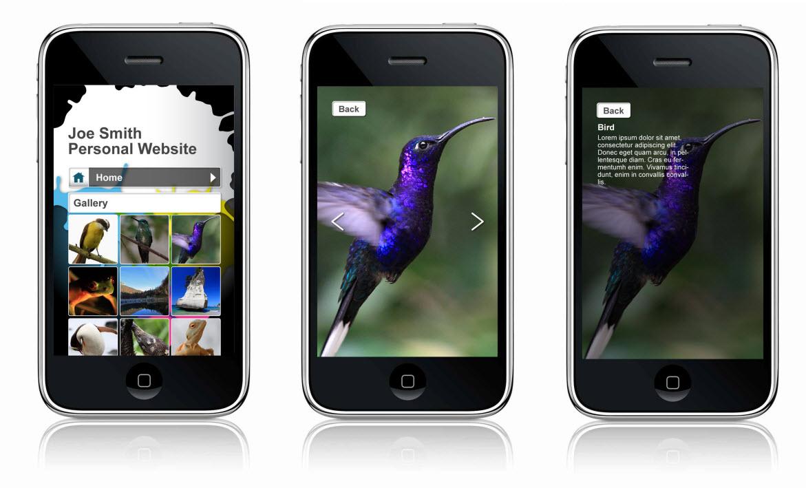 Tres celulares con sitios Wix Mobile