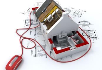 Gráfico 3D de casa a medio construir