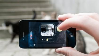 Mano toma foto con un smartphone