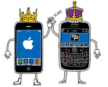 Gráfico de dos celulares con coronas