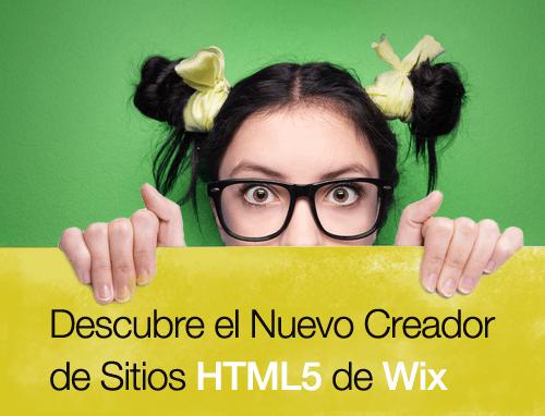 Muchacha se asoma desde el cartel que dice Descubre el editor HTML5 de Wix