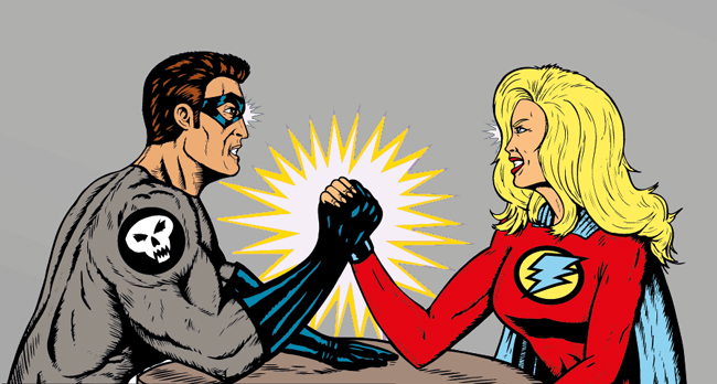 Dos superhéroes se enfrentan