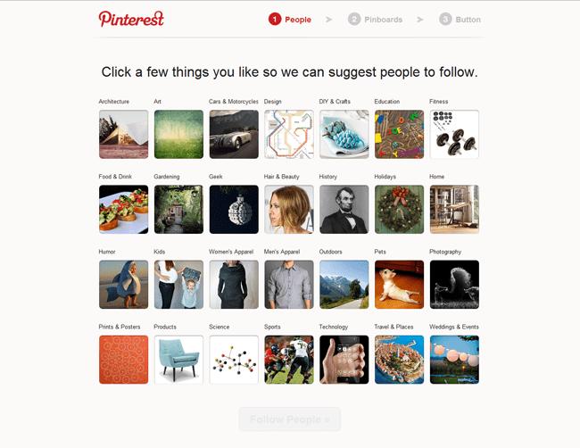 Página en Pinterest para elegir intereses